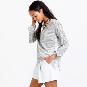 J. Crew Floral Block Print Silver Tape Tunic
